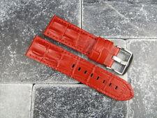 24mm PANERAI LUMINOR Red Strap Gator Hornback Grain Leather Tang Buckle Band