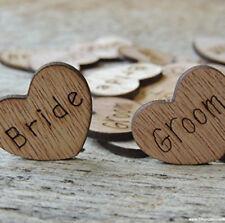 Wooden Love Hearts Wedding Table Confetti - Mr Mrs Bride Groom - SALE PRICE