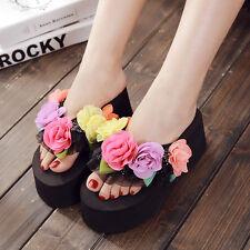Chinese Women DIY Lace Bow Flower Platform Wedge Heels Beach Flip Flops Sandal