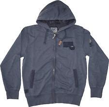 MAGLIA FELPA UOMO M L XL XXL 3XL giacca cappuccio blu cotone slavato Be Board