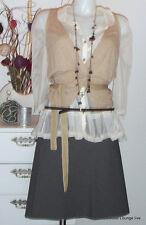 ღ s. OLIVER ღ Viskose Rock Skirt mit Gürtel M 38, Streifen striped grey grau NEU