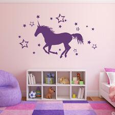 Unicorn & Stars Vinyl Wall Decal - magic fantasy horse transfer sticker K177-W