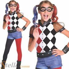 Deluxe Harley Quinn Costume Girls Fancy Dress Superhero Batman Halloween Outfit