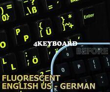 Glowing fluorescent German English US keyboard stickers