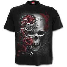 Espiral cráneo n Roses Camiseta-Negro