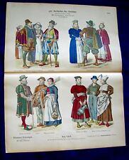 16th Century Germany-Merchants & Peasants -1880 History of Costumes Litho #1212