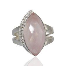 Rose Quartz Gemstone Ring White Topaz Silver Fashion Womens Ring Jewelry