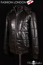 """VOSTOK HOODED"" Men's Black PUFFER Down Winter Lambskin Leather Jacket Coat"