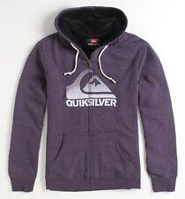 Quiksilver Mens Sherpa Purple Heather Zip Hoodie Sweatshirt Jacket New NWT