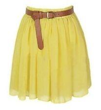 YELLOW Mini Skirt Women Girl Chiffon Short Dress Pleated Retro Elastic Waist Hot
