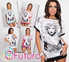 T-shirt Exclusif Marylin Monroe Motif Batwing manches ras du cou tunique fc2864