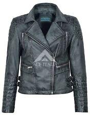 Ladies Leather Jacket Grey Vintage Gothic Biker Style Designer Natasha 7120