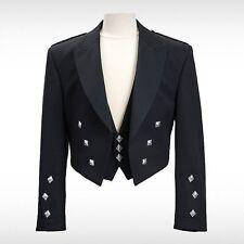 100% Wool Handmade Prince Charlie Kilt Jacket With Free 3 FencyButtons Waistcoat