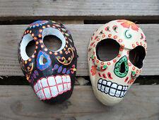 Fair Trade Hand Carved Wooden Skull Candy Sugar Skull Day Of The Dead Skull Mask