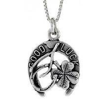 "Sterling Silver Good Luck / Wishbone Pendant / Charm, 18"" Italian Box Chain"