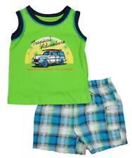 Okie Dokie Infant Boys Lime Tank Top 2pc Plaid Short Set Size 12M 18M 24M $16