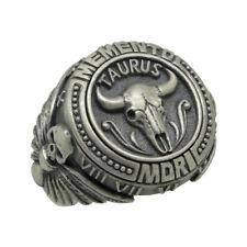 Taurus Skull Zodiac masonic sterling silver 925 biker mens ring Memento Mori