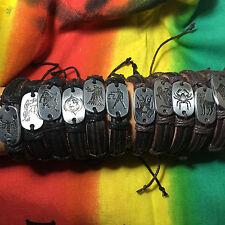 Astrological Zodiac Sign Easy Fashion Bracelet Leather Cuff Hippie IRIE 1sz fit