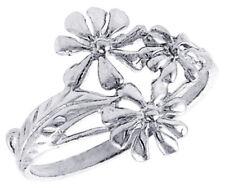 Women 925 Sterling Silver Rhodium Plated, Machine Cut Daisy Flower Ring Band