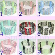 "SALE FASHION MAGNETS Czech Faceted Bicones / Pearls Necklace Bracelet 36"" b120"