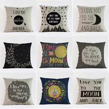 "Romantic Word Cotton Linen Pillow Case Waist Cushion Cover Throw Home Decor 18"""