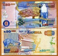 Zambia, 50,000 (50000) Kwacha 2003 Pick 48 (48a), UNC > Leopard > Scarce Date