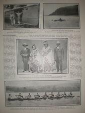 Printed photo Harvard University coxed eight rowing team 1906