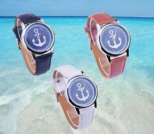 "Montre femme Homme marine luxe "" Ancre ""  bracelet Look cuir   + 1 pile KDO  U01"