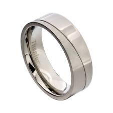 7mm Titanium Grey Satin Polish Grooved Men's Wedding Ring Band