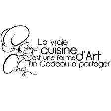 """Sticker Mural Texte """"La vraie cuisine est une forme d'art..."""", 30x63cm (TEX004)"""
