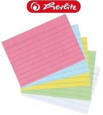 1000 Karteikarten DIN A8 liniert, in weiß, blau, gelb, grün, rot, oder sortiert