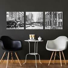 Glasbild mehrteilig NYC Urban schwarz-weiss 3-teilig Wandbild Echtglas farbecht