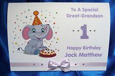 Personalised Handmade A5 Birthday Card 1st 2nd 3rd 4th 5th Cute Elephant (1564)