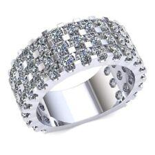 4Kt Diamante Redondo Mujer 3 Filas U-Prong Pavé Eternity con Tallaje Bar 14k Oro