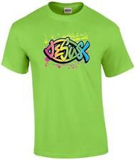 Christian Neon Jesus Ichthus Fish Symbol Religious T-Shirt
