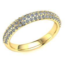 0.55ctw Round Genuine Diamond Ladies Bridal 3 Row Half Eternity Ring 10k Gold