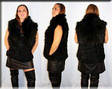 New Black Fox Fur and Tibetan Lamb Fur Vest Sizes Medium Large Extra Large