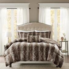 Super Deluxe Grey Brown Silky Chinchilla Faux Fur Comforter Set 4 pcs King Queen