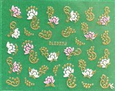 3D Rose Flower Golden or Silver Rhinestone Nail Art Sticker BLE327