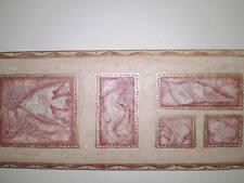 Blown Vinyl Sea Life Border Dark Red/Pink & Gold on Beige by Fine Decor B.6257