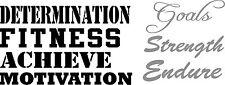 Large Motivational Fitness words- Determination, Goals Strength gym vinyl decal