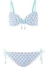 Bikini Gr. 36 42 44 Cup D weiß blau mint 2 tlg. Bademode Bügel-Bikini