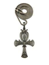 "New Egyptian Ankh Cross Pendant & 24"" Box/Cuban Chain Hip Hop Necklace - XYP2HE"