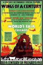 Chicago 1934 World's Fair Century Of Progress Vintage Poster Print Air Train