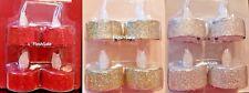 4 X Glitter LED Lumini Tremolante Fiamma A BATTERIA CANDELA Natale Decor