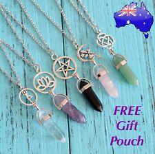 Natural Stone Crystal Quartz Fairy Pentagram Lotus Yoga Charm Pendant Necklace