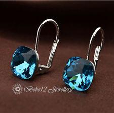 Cushion Cut Blue Crystal Drop Hoop Earring/RGE593
