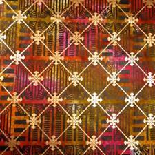 Urban Ethnic Batik, Metallic Gold, Black, Orange & Pink, Per 1/2 Yd or BTY