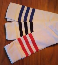 WHITE STRIPEY KNEE HIGH 3 COLOURS ATHLETIC SPORTS FANCY DRESS SOCKS 4-7 UNISEX
