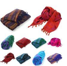 Vegan Wool Shawl Blanket Stripe Hill Queen Wrap Throw Boho Meditation Travel